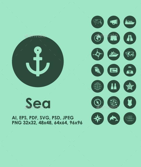 Sea simple icons - Seasonal Icons