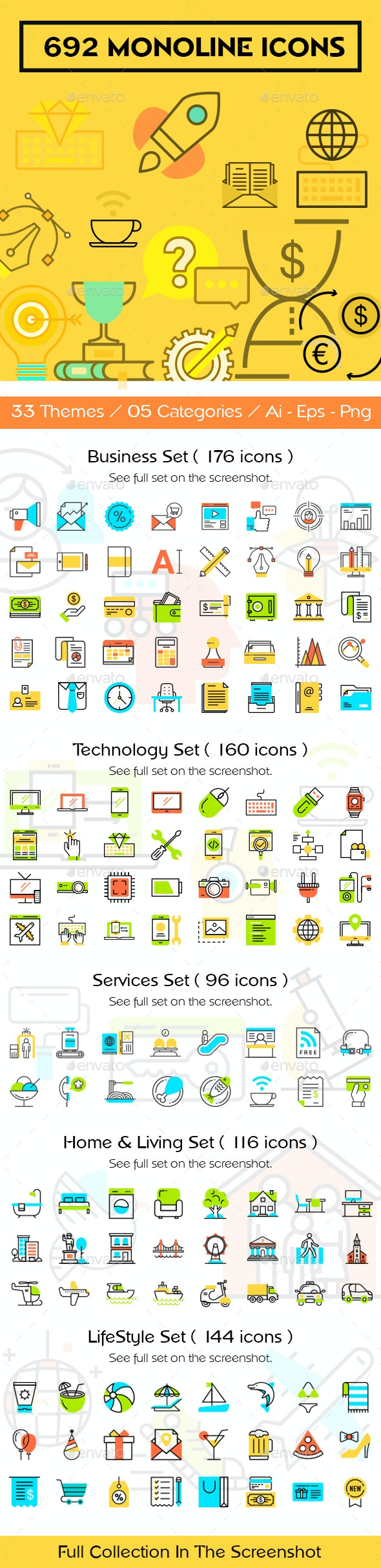Mono Line Icons Collection - Icons