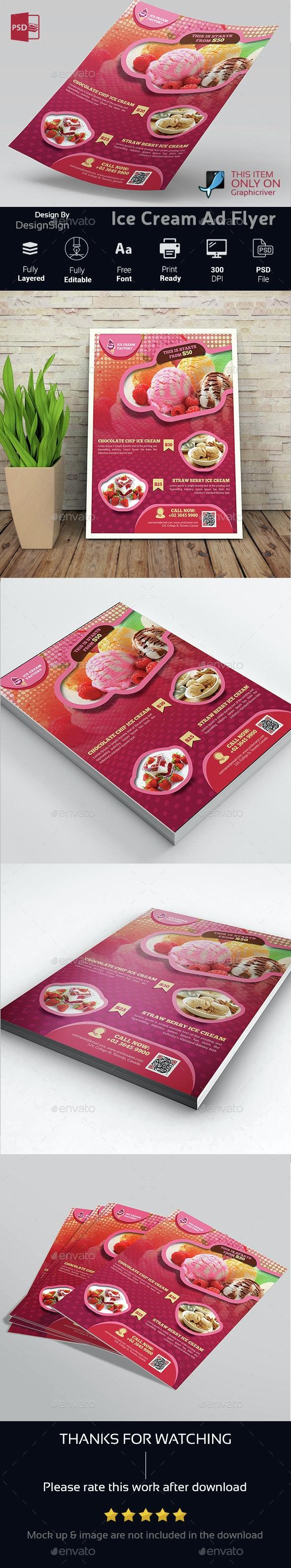 Ice Cream Ad Flyer - Restaurant Flyers