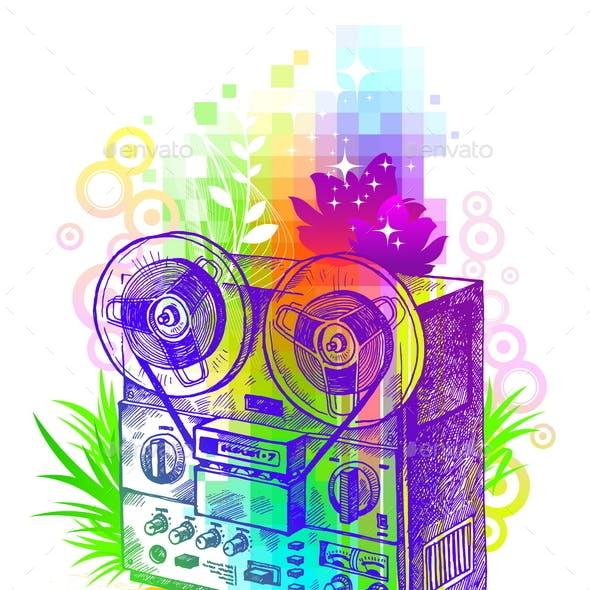 Hand Drawn Retro Tape Recorder