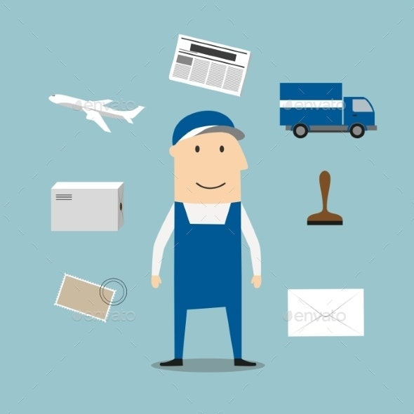 Postman Profession and Delivery Icons - People Characters