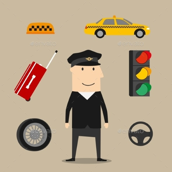 Taxi Driver Profession Icons Set - People Characters