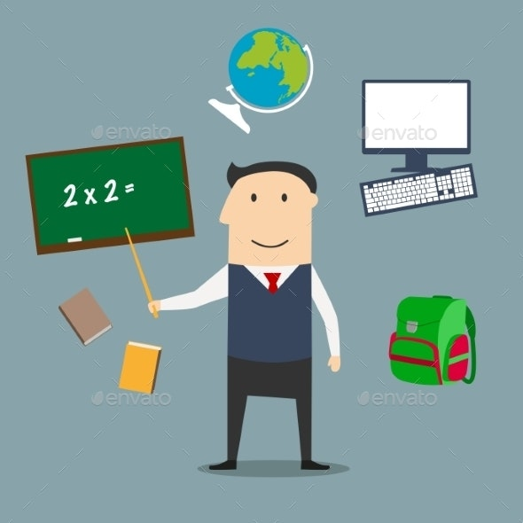 School Teacher and Education Icons - People Characters