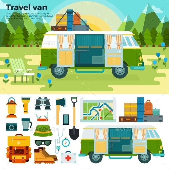 Travel Van in the Forest Near Mountains - Travel Conceptual