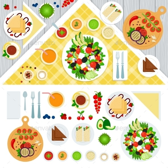 Table Served With Vegeterian Dishes - Food Objects