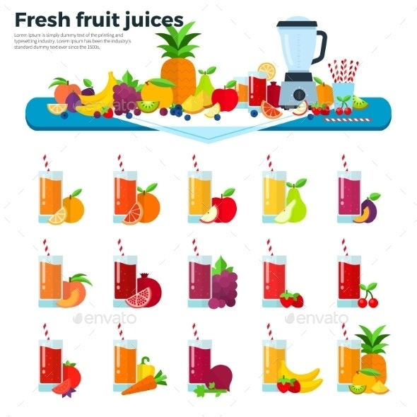 Glasses With Fruit Juices On The Table - Food Objects