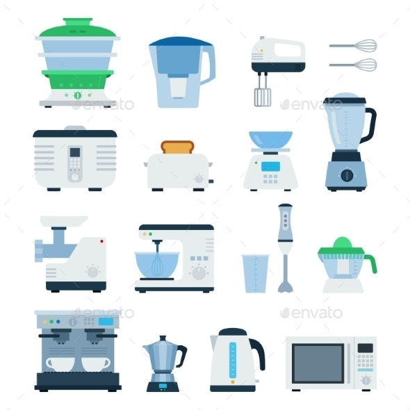 Modern Cooking Devices Isolated on White - Man-made Objects Objects