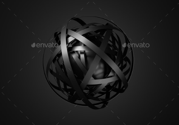 Abstract 3D Rendering Of Sphere With Rings. - Technology 3D Renders