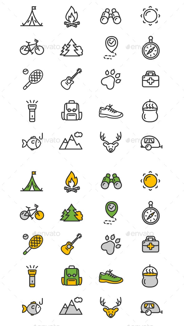 Camping Tourism Hiking Icon Set - Travel Conceptual