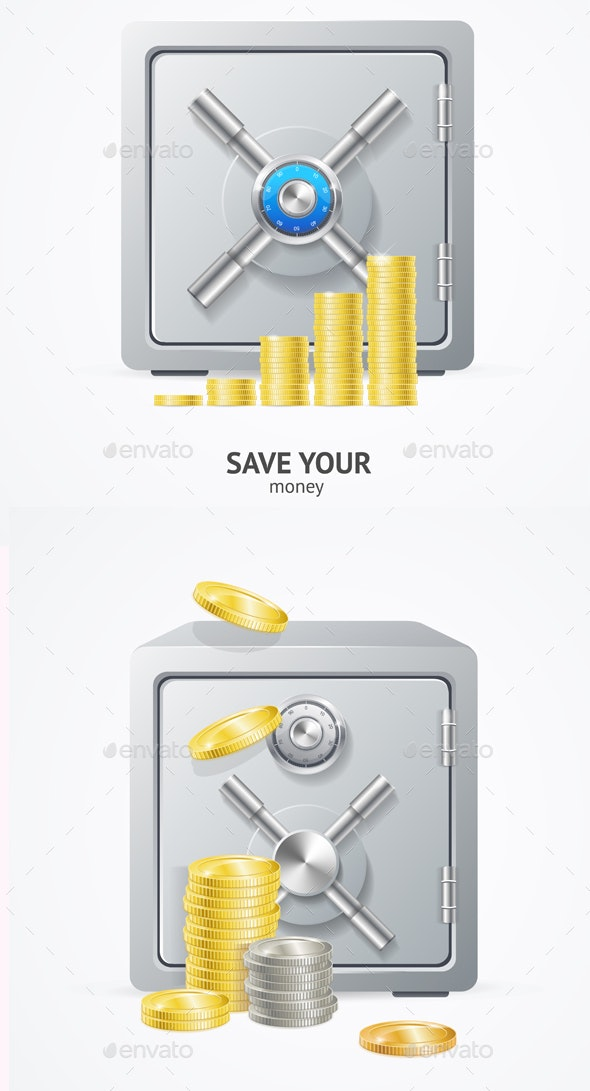 Safe and Money with Different Coins - Miscellaneous Vectors
