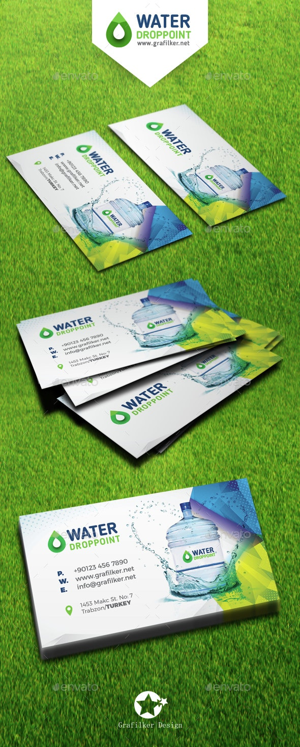 Drinking Water Service Business Card Templates - Corporate Business Cards