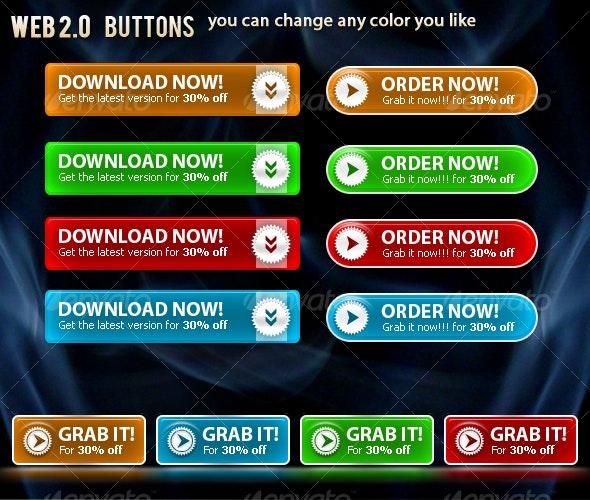 Web 2.0 Buttons - Buttons Web Elements