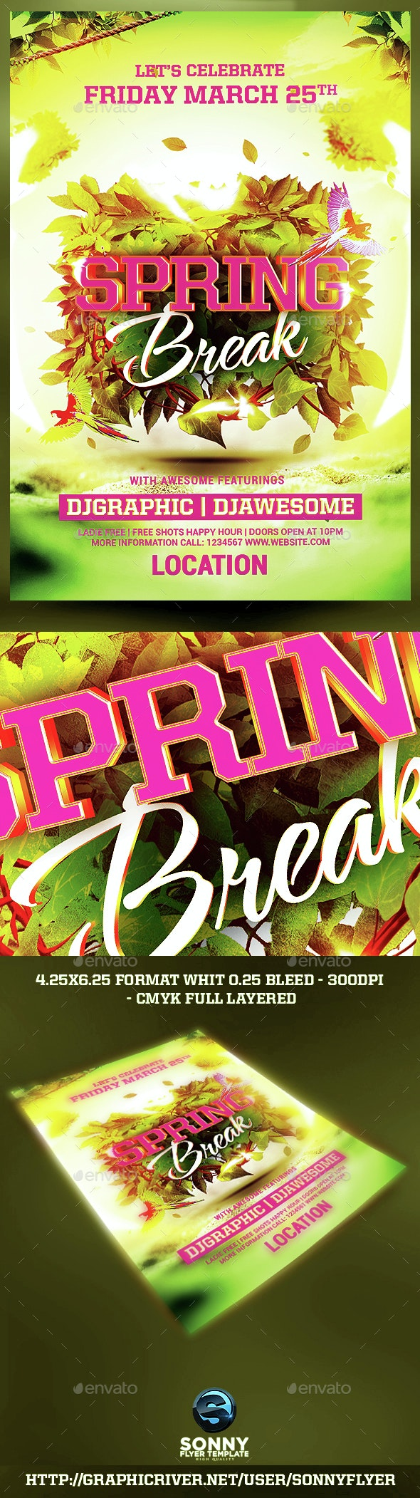 Spring Break Party  - Events Flyers