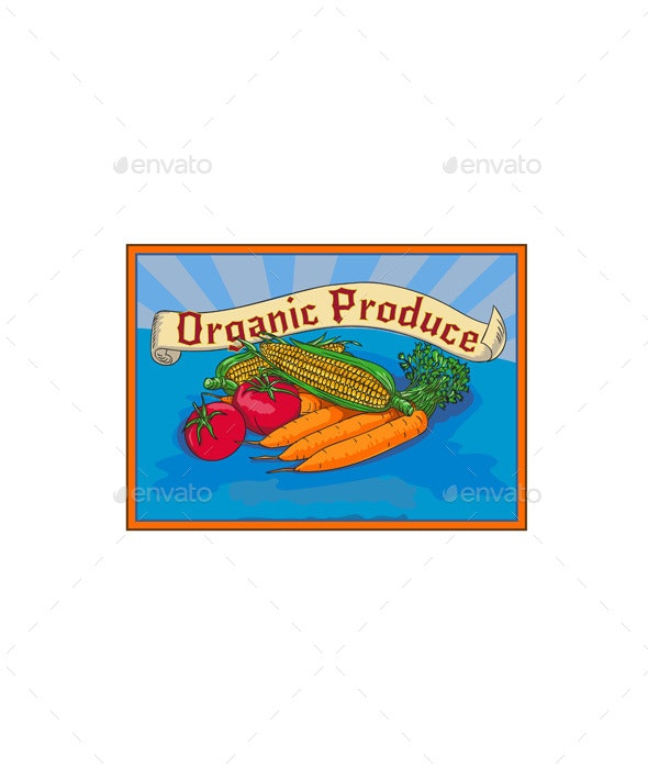 Organic Produce Crop Harvest Label Watercolor - Food Objects