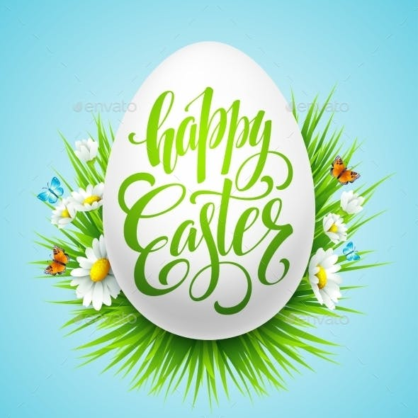 Easter Lettering Poster with Spring Flower