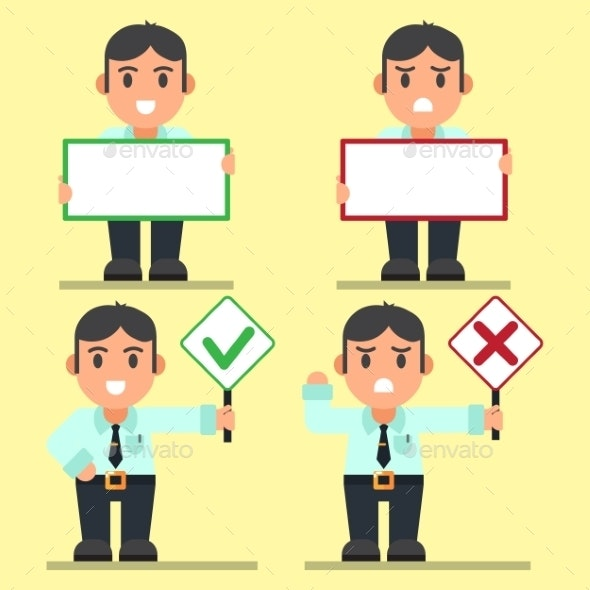 Office Workers Right and Wrong Text Signs - Concepts Business