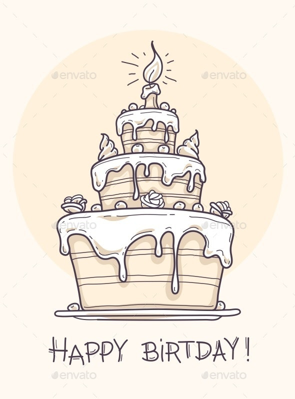 Greeting Card with Big Birthday Cake - Birthdays Seasons/Holidays