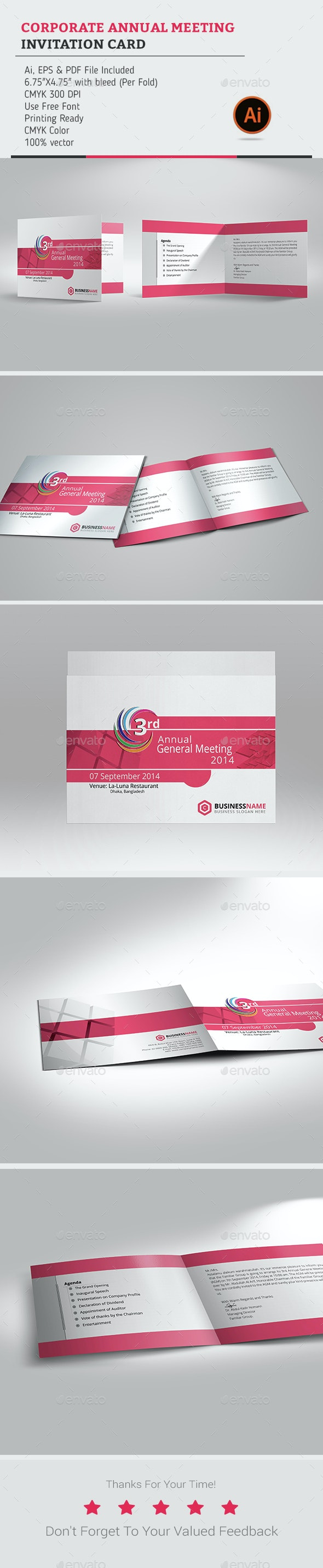 Corporate Annual Meeting invitation Card - Cards & Invites Print Templates