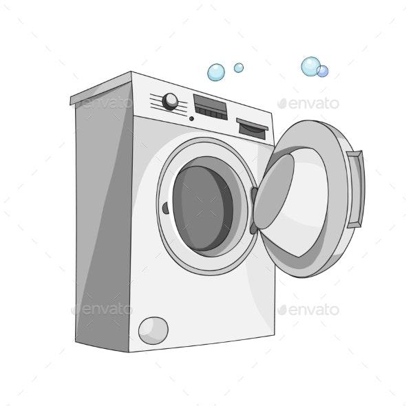 Washing Machine Isolated on White Background - Backgrounds Decorative