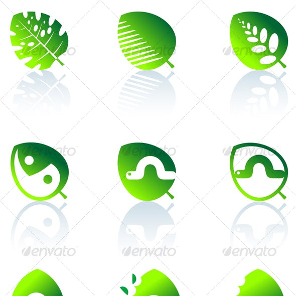 Set of leaves icons isolated on white