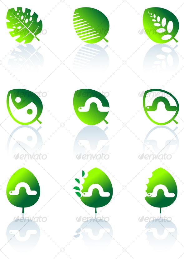 Set of leaves icons isolated on white - Decorative Vectors
