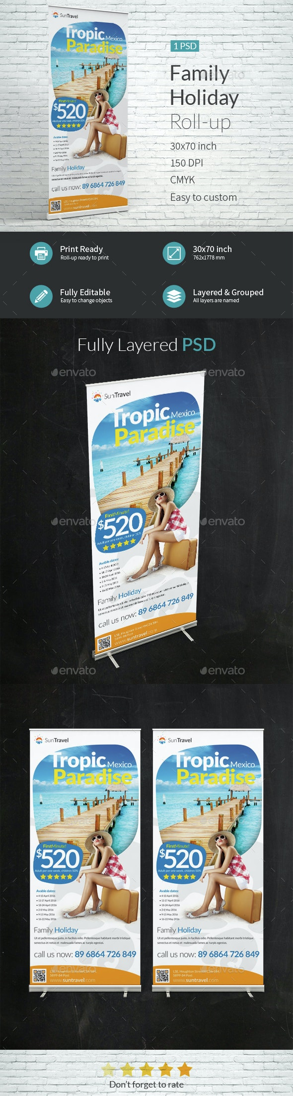 Family Holiday Roll-up Template - Signage Print Templates