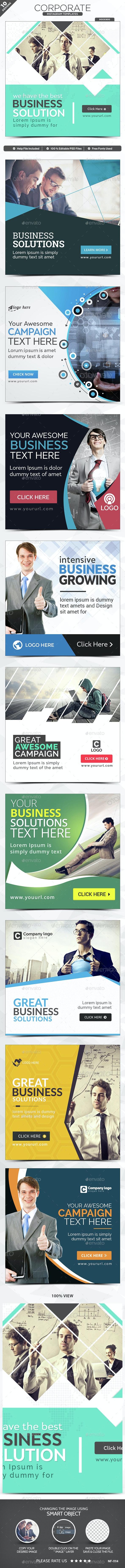Corporate Instagram Banners - 10 Designs - Social Media Web Elements