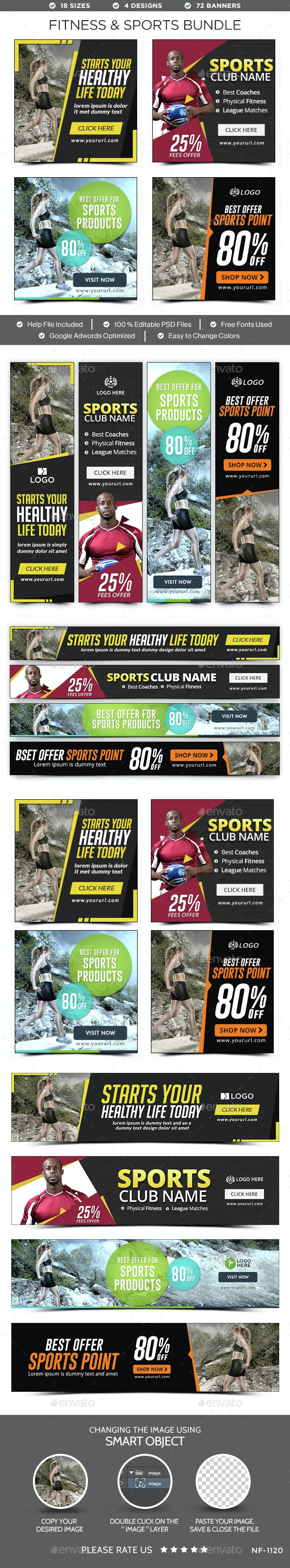 Fitness & Sports Banners Bundle - 4 Sets - 72 Banners - Banners & Ads Web Elements