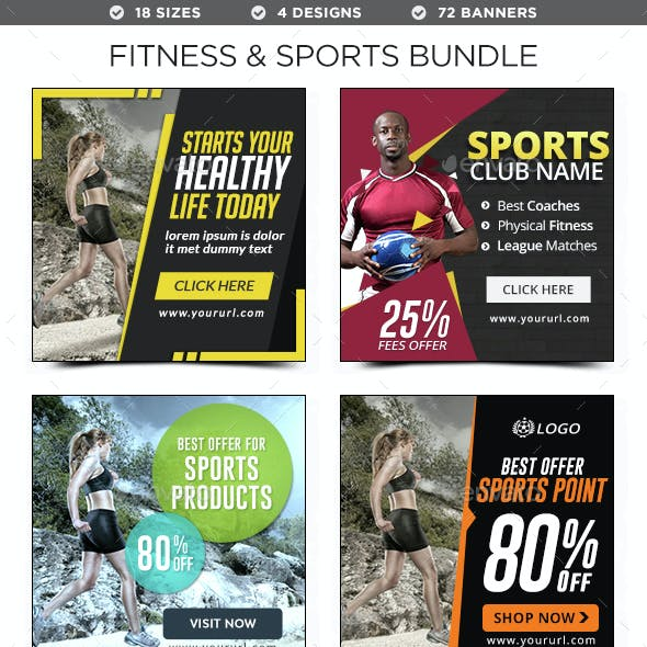Fitness & Sports Banners Bundle - 4 Sets - 72 Banners