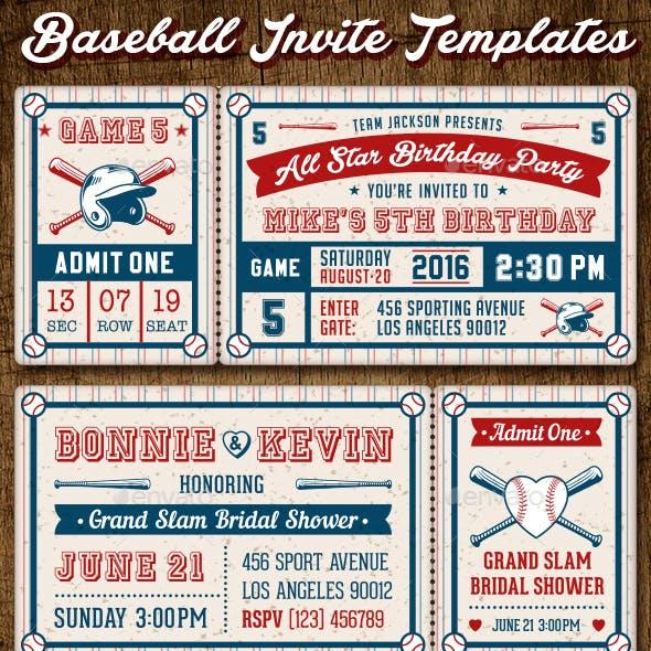 Baseball Ticket Party Invites
