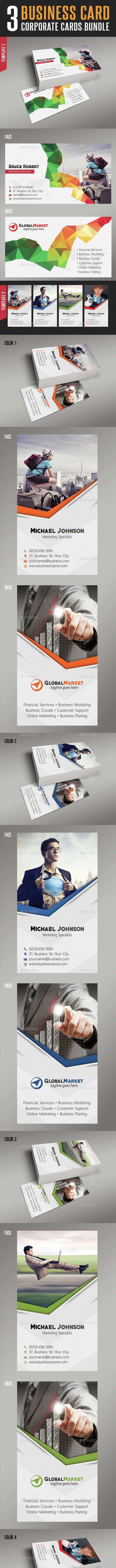 3 in 1 Corporate Business Card Bundle 02 - Corporate Business Cards