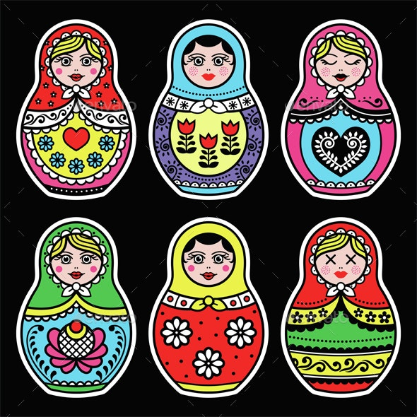 Matryoshka, Russian Doll Colorful Icons - Miscellaneous Characters