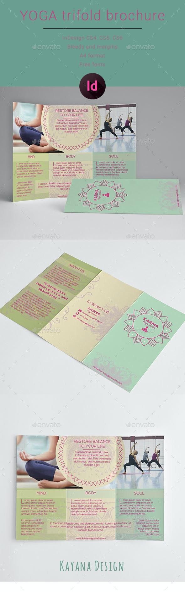 Yoga Trifold Brochure - Brochures Print Templates