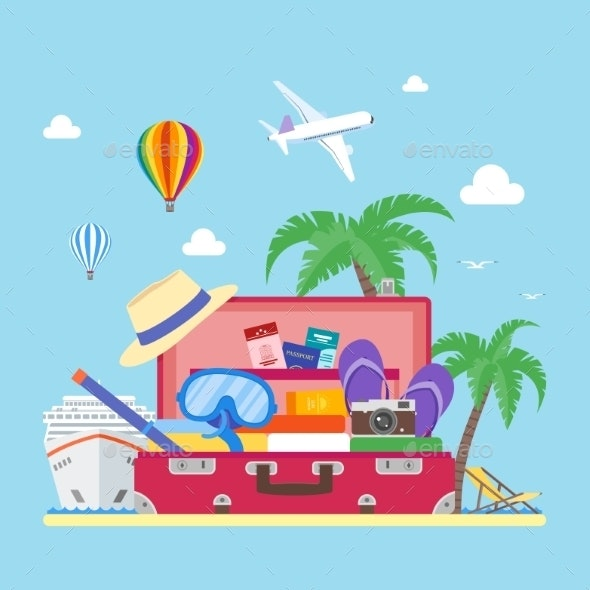 Travel Concept Illustration in Flat Style - Travel Conceptual