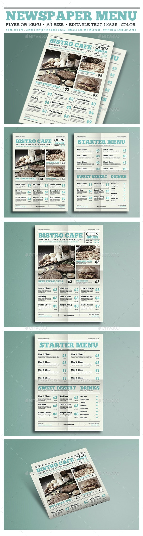 Newspaper Menu Flyer  - Restaurant Flyers