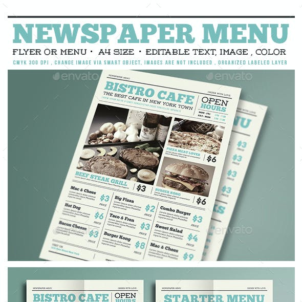 Newspaper Menu Flyer