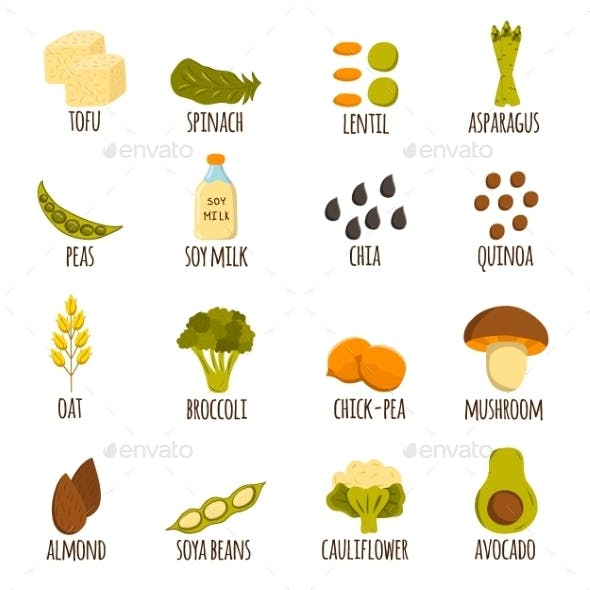 Vegan Protein Icons