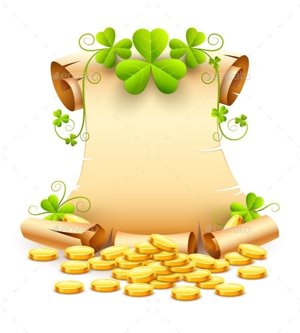 Vintage Paper Script and Clover Leaves Saint Patricks Day - Miscellaneous Seasons/Holidays