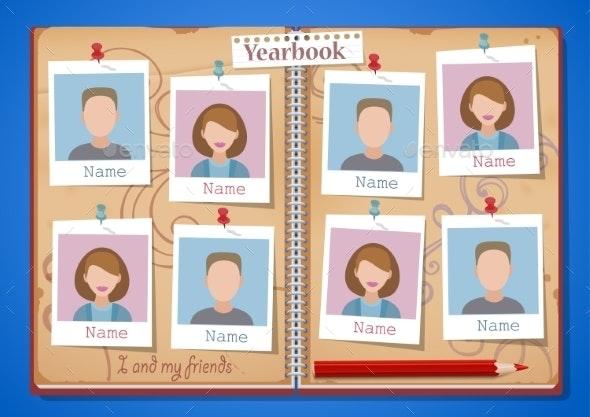 School Album Yearbook and Open Book - People Characters