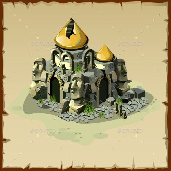 Ancient Ruined Castle with Columns Heads - Religion Conceptual