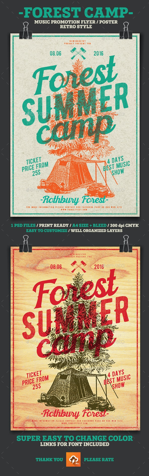 Forest Summer Camp - Flyers Print Templates