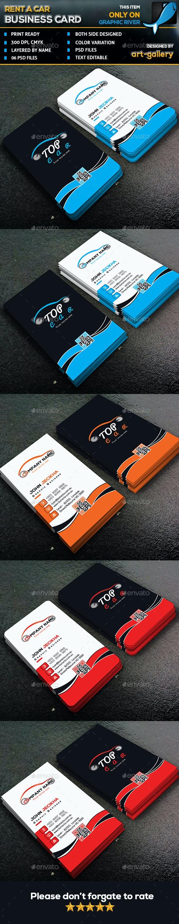 Rent a Car Business Card - 72B - Business Cards Print Templates