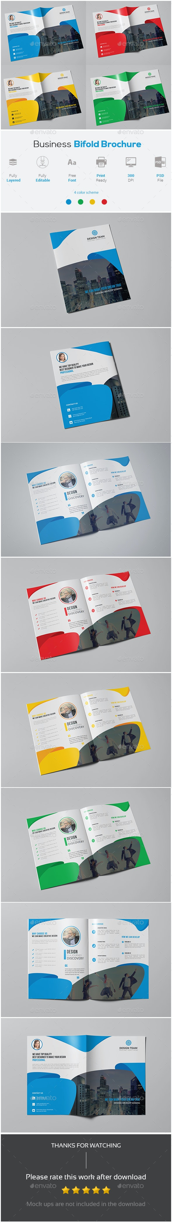 Business Bifold Brochure Template - Corporate Brochures