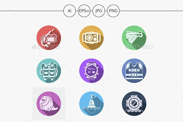Diving equipment flat color round vector icons set