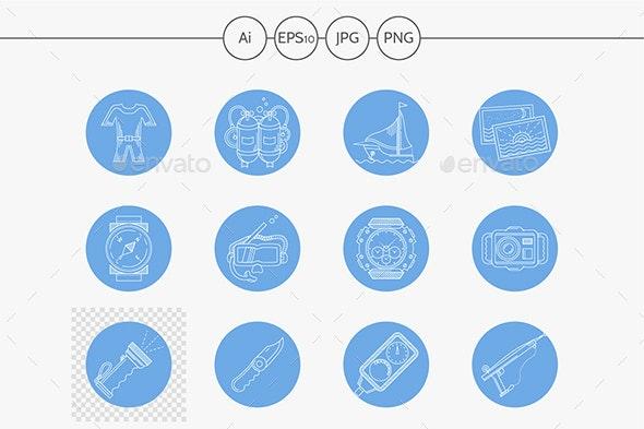 Underwater blue round vector icons