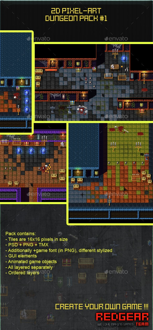 2D Pixel Art Dungeon Pack #1 - Game Kits Game Assets