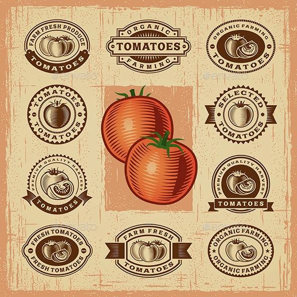 Vintage Tomato Stamps Set - Decorative Symbols Decorative