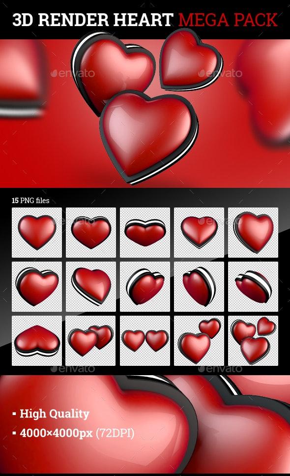 Heart 3D Render Mega Pack - Objects 3D Renders