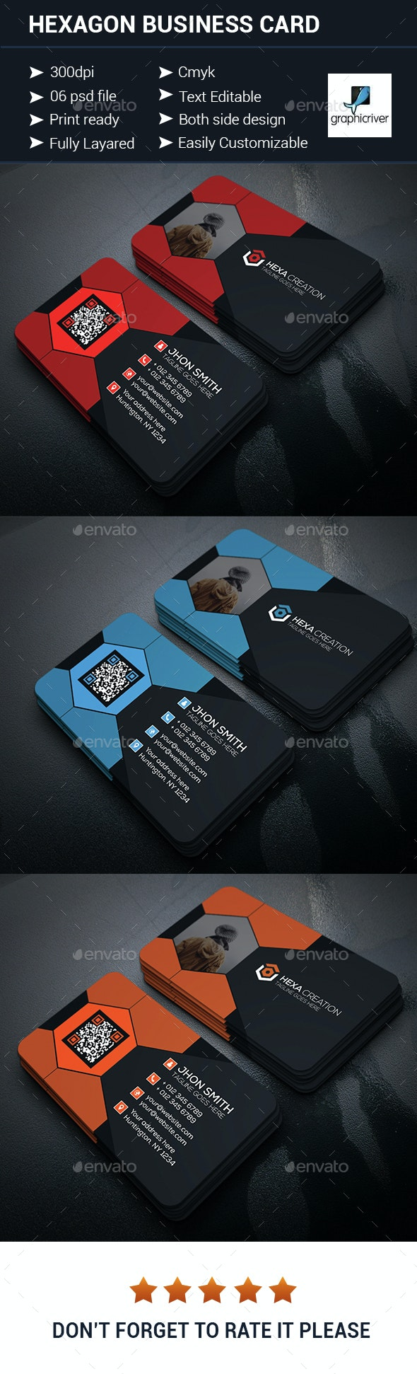 Hexagon Shaped Business Card - Corporate Business Cards