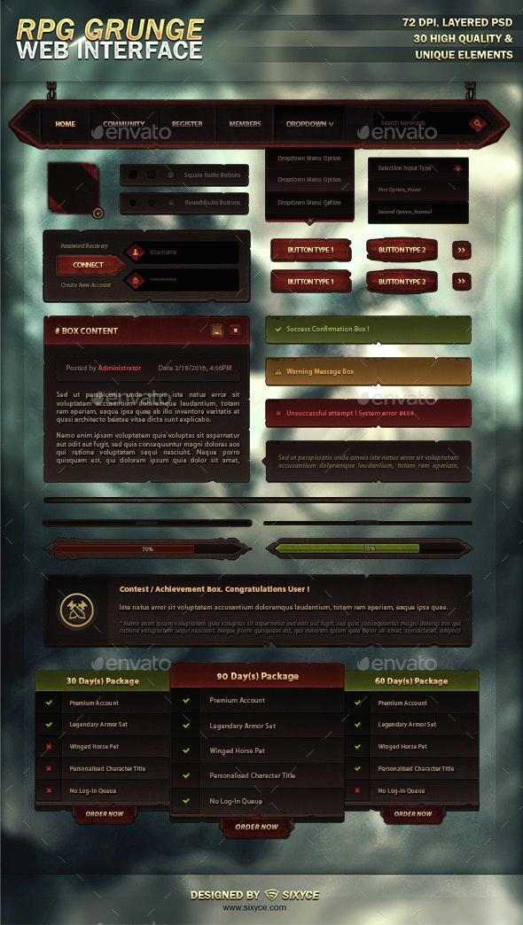 MMO RPG Grunge Web Interface - Web Elements